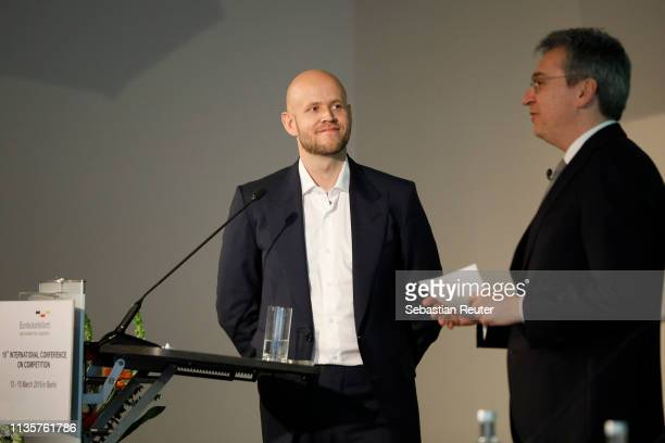 Spotify founder Daniel Ek and Andreas Mundt speak at the 19th International Conference on Competition at Steigenberger Hotel am Kanzleramt on March...