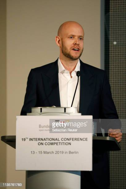 Spotify founder Daniel Ek speaks at the 19th International Conference on Competition at Steigenberger Hotel am Kanzleramt on March 14 2019 in Berlin...