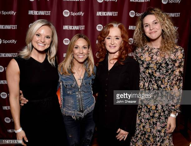 Spotify's Brittany Schaffer artist Sheryl Crow artist Bonnie Raitt and Spotify's Mary Catherine Kinney attend a special event hosted by Spotify and...