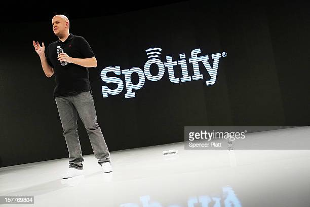 Spotify's founder and CEO Daniel Elk speaks at a Spotify event on December 6 2012 in New York City Elk who started the Swedish music streaming...