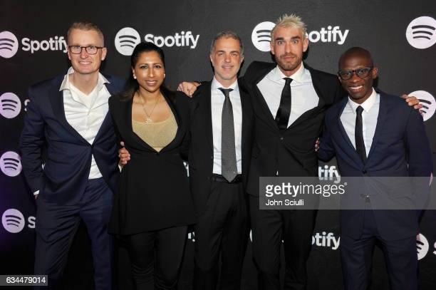 Spotify's Stefan Blom Tiffany Kumar Rob Harvey Dave Rocco and Troy Carter attend the Spotify Best New Artist Nominees celebration at Belasco Theatre...