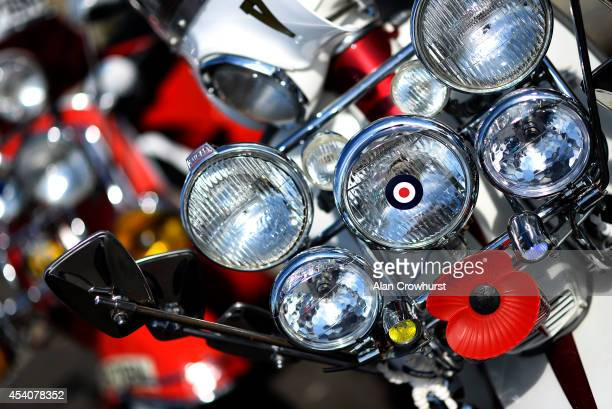 Spotlamps on the front of a scooter during the Brighton Mod weekender on August 24 2014 in Brighton England This August Bank holiday will see many...