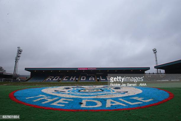 Spotland home stadium of Rochdale during The Emirates FA Cup Fourth Round match between Rochdale and Huddersfield Town at Spotland Stadium on January...