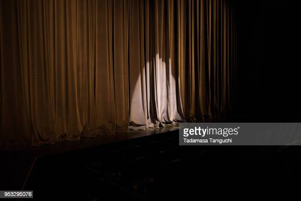 spotlight at stage of concert hall - acting performance stock pictures, royalty-free photos & images