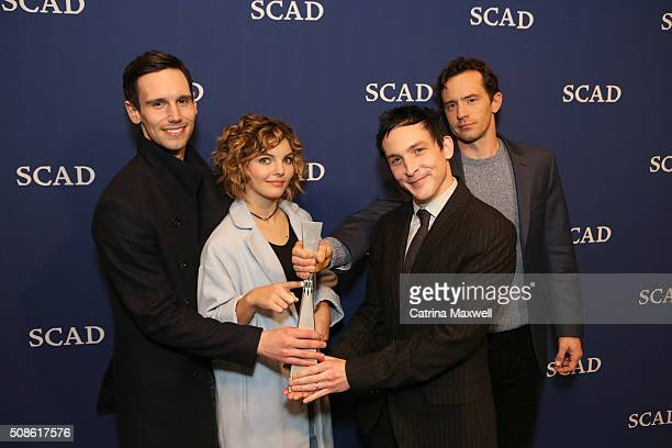 """Spotlight Cast Award Recipients for """"Gotham"""" actors Cory Michael Smith, Camren Bicondova, Robin Lord Taylor and Nathan Darrow pose with their award..."""