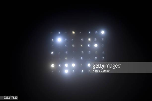 A spotlight is seen during the Serie A football match between US Sassuolo and Torino FC The match ended 33 tie
