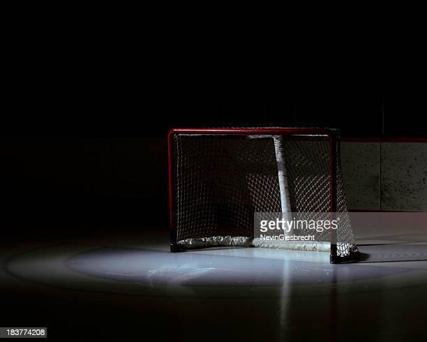 Spotlight on an empty hockey net