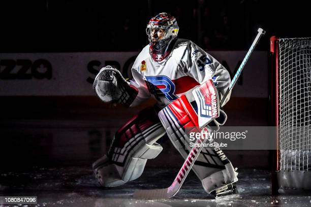Spotlight on Charlie Lindgren of the Laval Rocket before the game starts against the Belleville Senators at Place Bell on November 28 2018 in Laval...