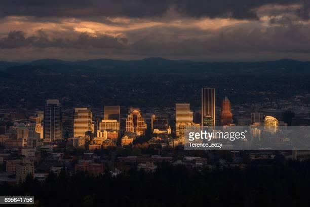 spotlight on downtown portland skyline, oregon - portland oregon stock photos and pictures