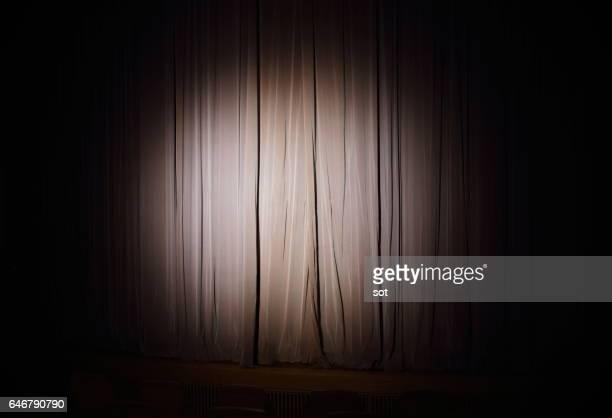 Spotlight on stage curtain