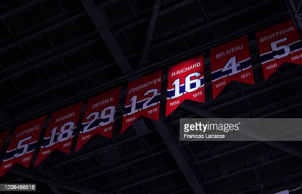Spotlight on the as part of the tribute for NHL Legend the late Henri Richard of the Montreal Canadiens prior to the game against the Nashville...