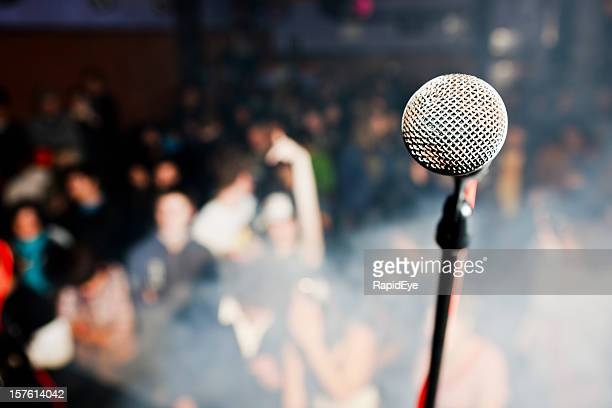 spotlight on the microphone - night before stock photos and pictures