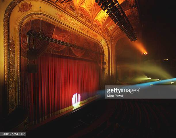 Spotlight shining on curtain of theater