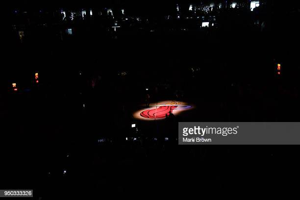 A spotlight view of the Miami Heat logo during introductions before Game Four of Round One of the 2018 NBA Playoffs between the Miami Heat and the...