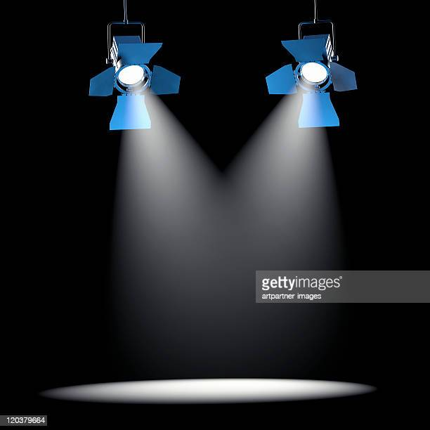 2 spotlights on a black ceiling - spotlit stock pictures, royalty-free photos & images