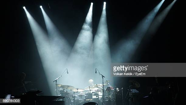 Spotlights On Drums At Concert