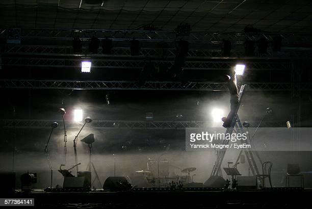 Spotlights On Stage At Concert Hall
