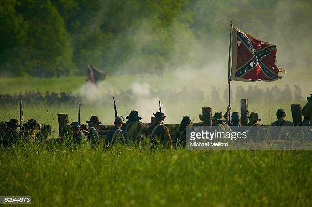 a reenactment of the battle of spotsylvania. - reenactment stock photos and pictures