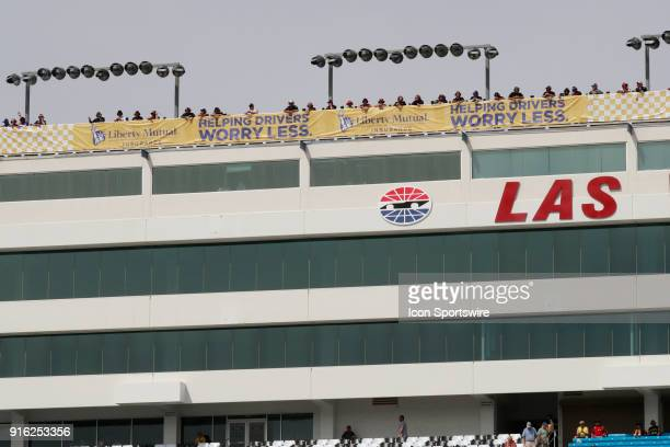 Spotters watch from the top of the pressbox for the Kobalt 400 at the Las Vegas Motor Speedway in Las Vegas NV