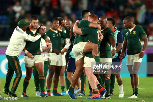 Spouth Africa celebrate the win during the Rugby World Cup 2019 SemiFinal match between Wales and South Africa at International Stadium Yokohama on...