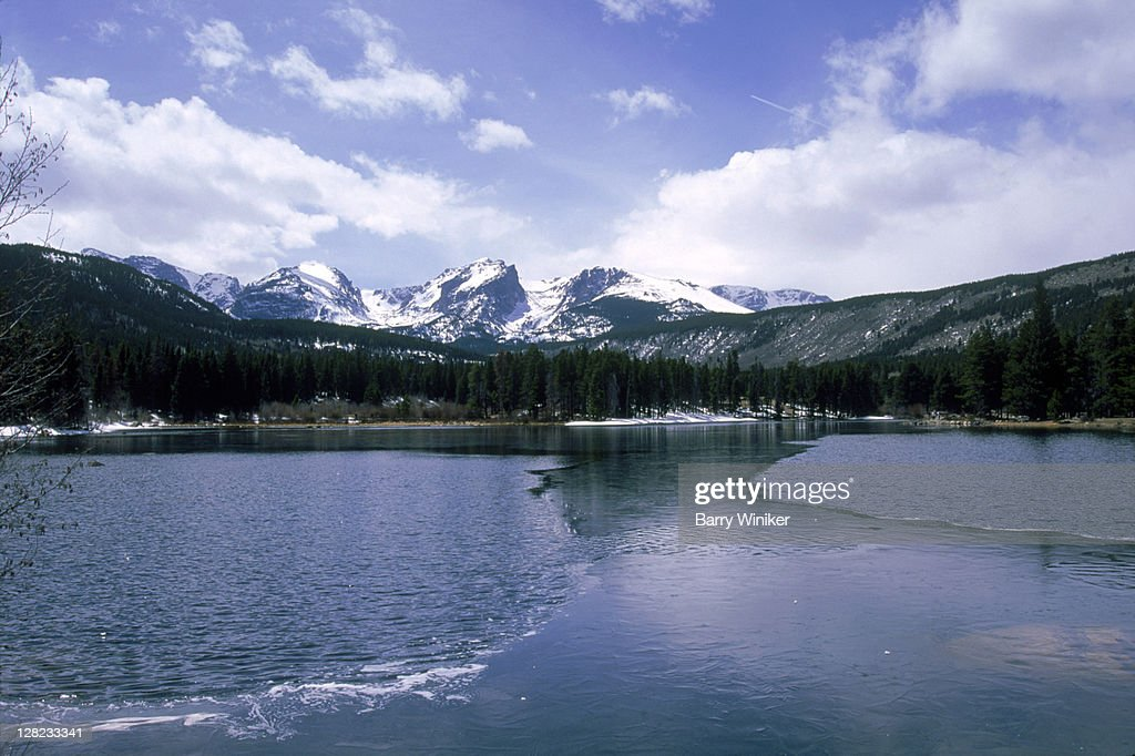 sprague lake rocky mountain national park estes park co ストック