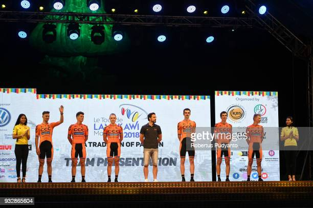 Sprandi Polkowice Poland riders pose during team presentation ahead of the Le Tour de Langkawi 2018 on March 16 2018 in Langkawi Malaysia