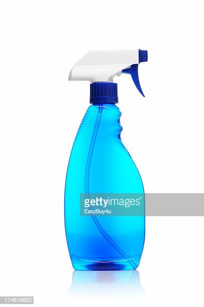 Spray bottle of blue window cleaner on a white background