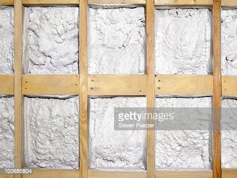 Spray Foam Insulation In Stud Wall High Res Stock Photo