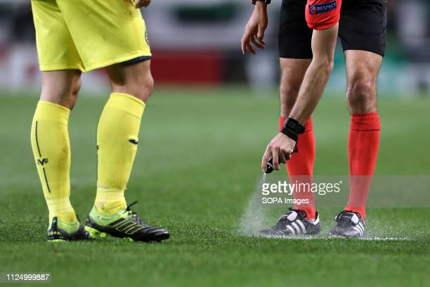 Spray that the referees use in game during the Europa League 2018/2019 footballl match between Sporting CP vs Villarreal FC