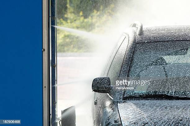 spraying soap - car wash brush stock photos and pictures