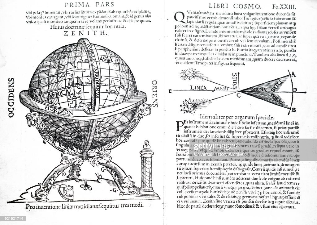 Spread from Petrus Apianus' Cosmographiia. Petrus Apianus (1495-1552) a German humanist, known for his works in mathematics, astronomy and cartography. Dated 16th century.