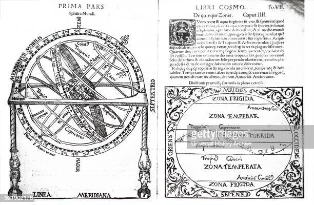 Spread from Petrus Apianus' Cosmographiia Petrus Apianus a German humanist known for his works in mathematics astronomy and cartography Dated 16th...