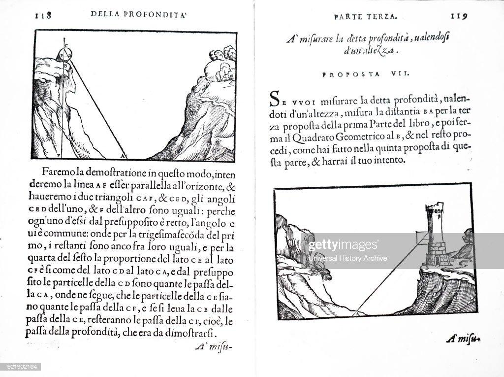 Spread from Silvio Belli's Treaty of Proportion. Silvio Belli (1520-1579) an Italian mathematician and Engineer. Dated 16th century.