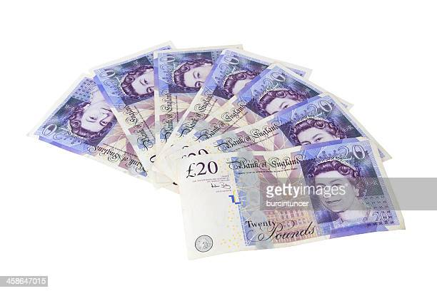 spread of 20 pound sterling notes with queen elizabeth ii - twenty pound note stock pictures, royalty-free photos & images