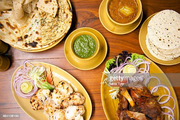 A spread of dishes at Bukhara a traditional NorthWest Frontier cuisine restaurant at the ITC Maurya in Delhi Northwest frontier is the Indian name...