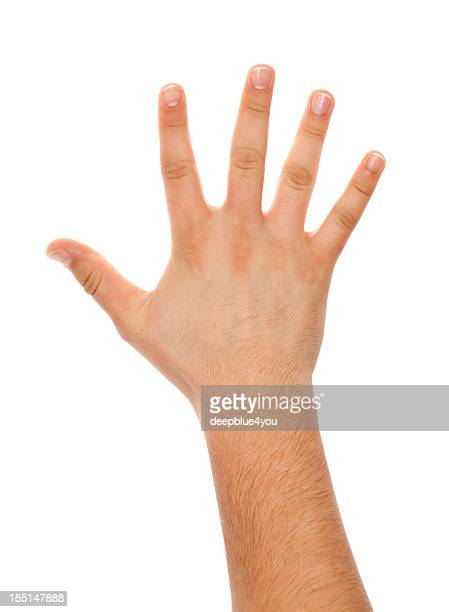 Spreaded male hand back on white isolated