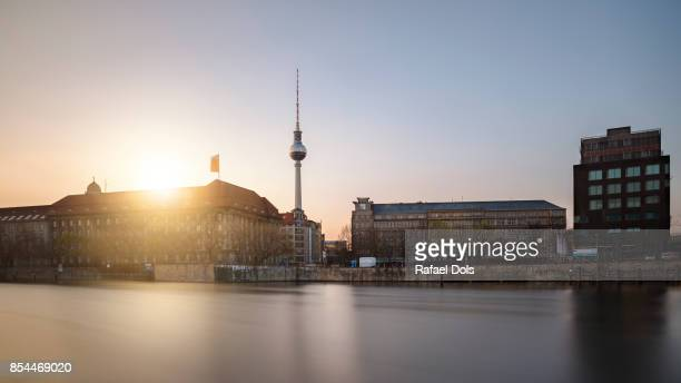 Spree river and tv tower, Berlin, Germany