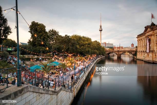 Spree river waterfront near Alexanderplatz, Mitte, Berlin, Germany