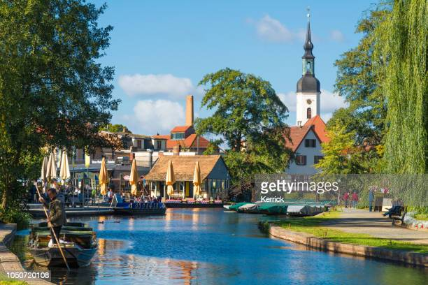 spreewald lübbenau, lehde - big harbor with view to the curch - cottbus stock pictures, royalty-free photos & images