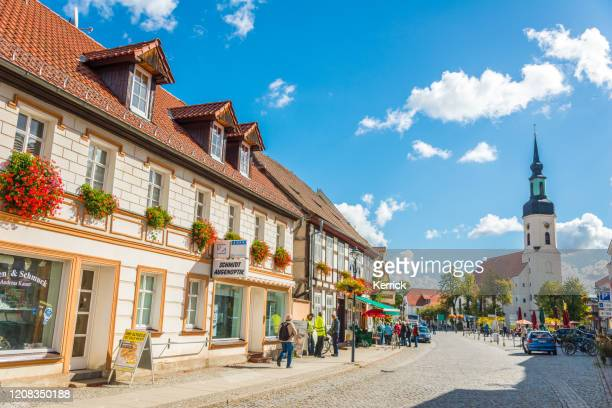 spreewald lübbenau, lehde - old town street with church - cottbus stock pictures, royalty-free photos & images