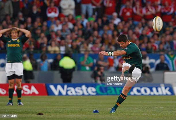 Sprinboks replacement Morne Steyn kicks the winning penalty during the Second Test match between the South Africa and the British and Irish Lions at...
