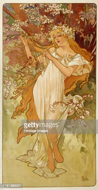 Spring', 1896. From the series Les Saisons. Found in the collection of the State A Pushkin Museum of Fine Arts, Moscow. Artist Alphonse Mucha.