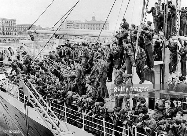 Spring 1962 drafted soldiers embark for France from Algiers harbour following the signing of the Evian Accords on March 18 which declared a ceasefire...