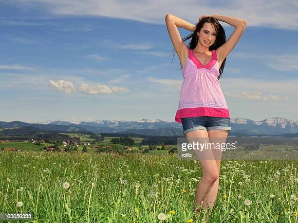 spring and alps - one young woman only stock pictures, royalty-free photos & images