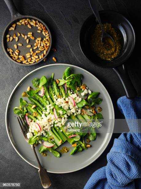spring asparagus salad - asparagus stock pictures, royalty-free photos & images