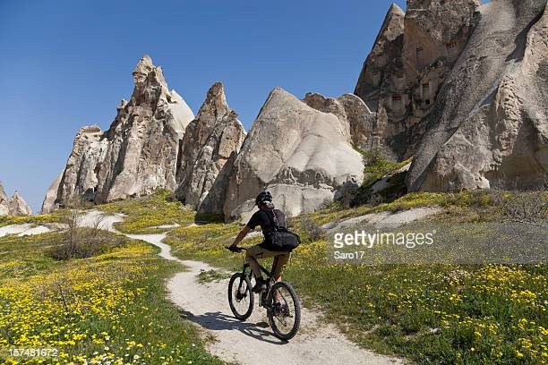 spring  biking in cappadocia, turkey - rock hoodoo stock pictures, royalty-free photos & images