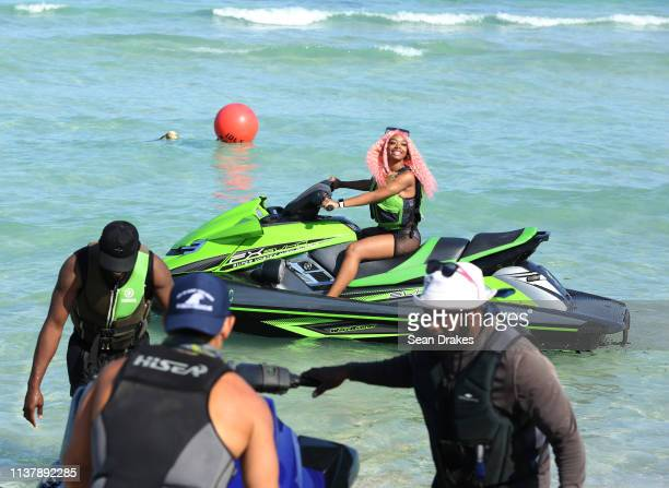 Spring Break visitor from New Jersey enjoys a jet ski experience as thousands of college students and nonstudents attend Spring Break festivities in...