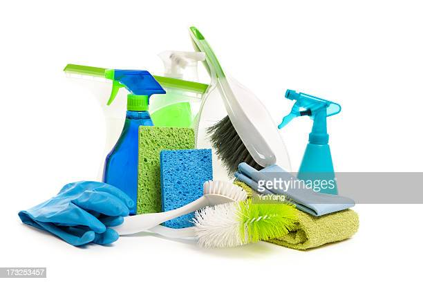 Spring Cleaning Equipment and Detergent Cleanser Products on White