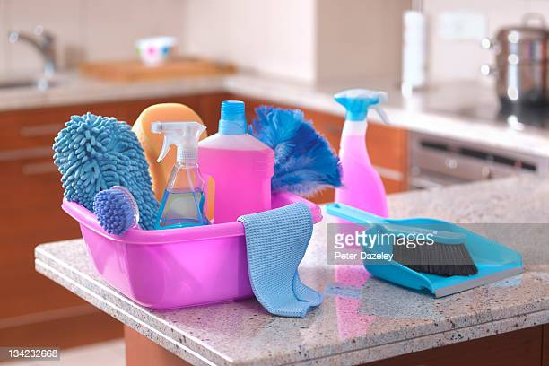 spring cleaning equipment in kitchen - cleaning agent stock pictures, royalty-free photos & images