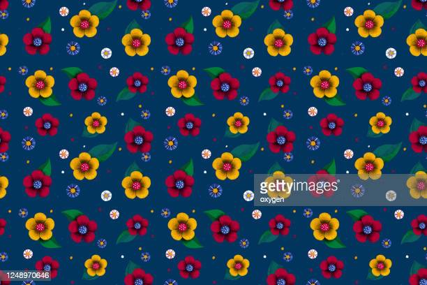spring colorful flowers seamless pattern. flat design on navy blue background. digital illustration - international match stock pictures, royalty-free photos & images